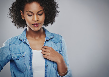 Thoughtful attractive young African American woman