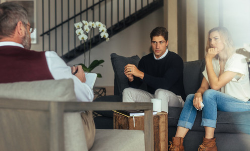 Conflicted couple getting relationship counseling