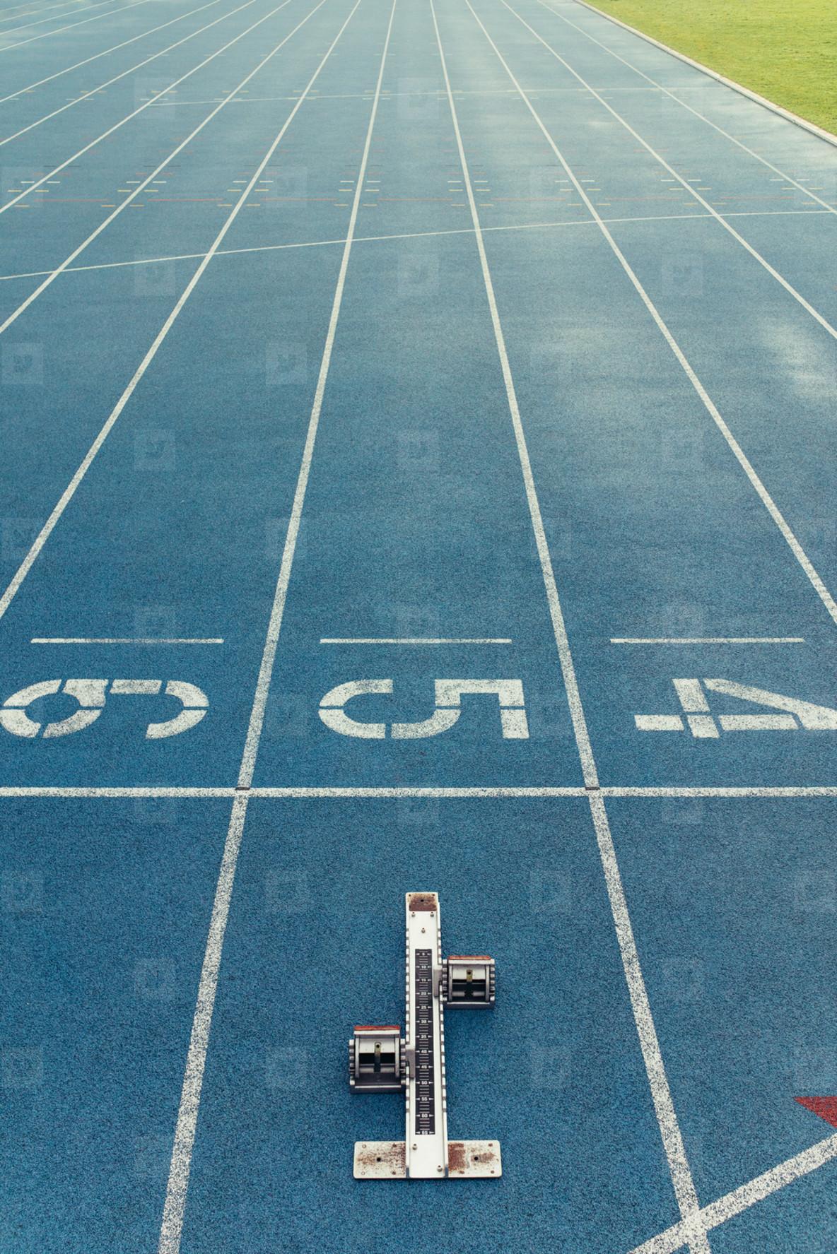 Starting block on a running track