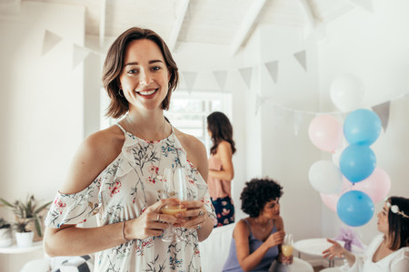 Women having a baby shower party at home