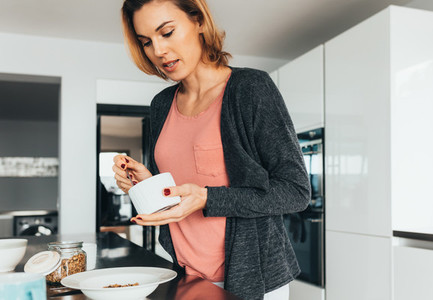 Woman preparing breakfast