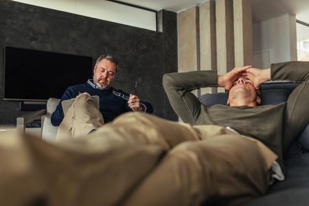 Depressed man visiting psychologist