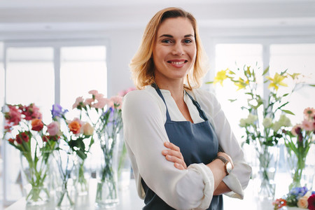 Young successful florist owner