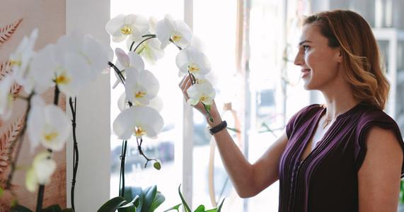 Happy florist owner looking at flowers