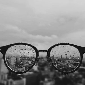 Glasses with raindrops