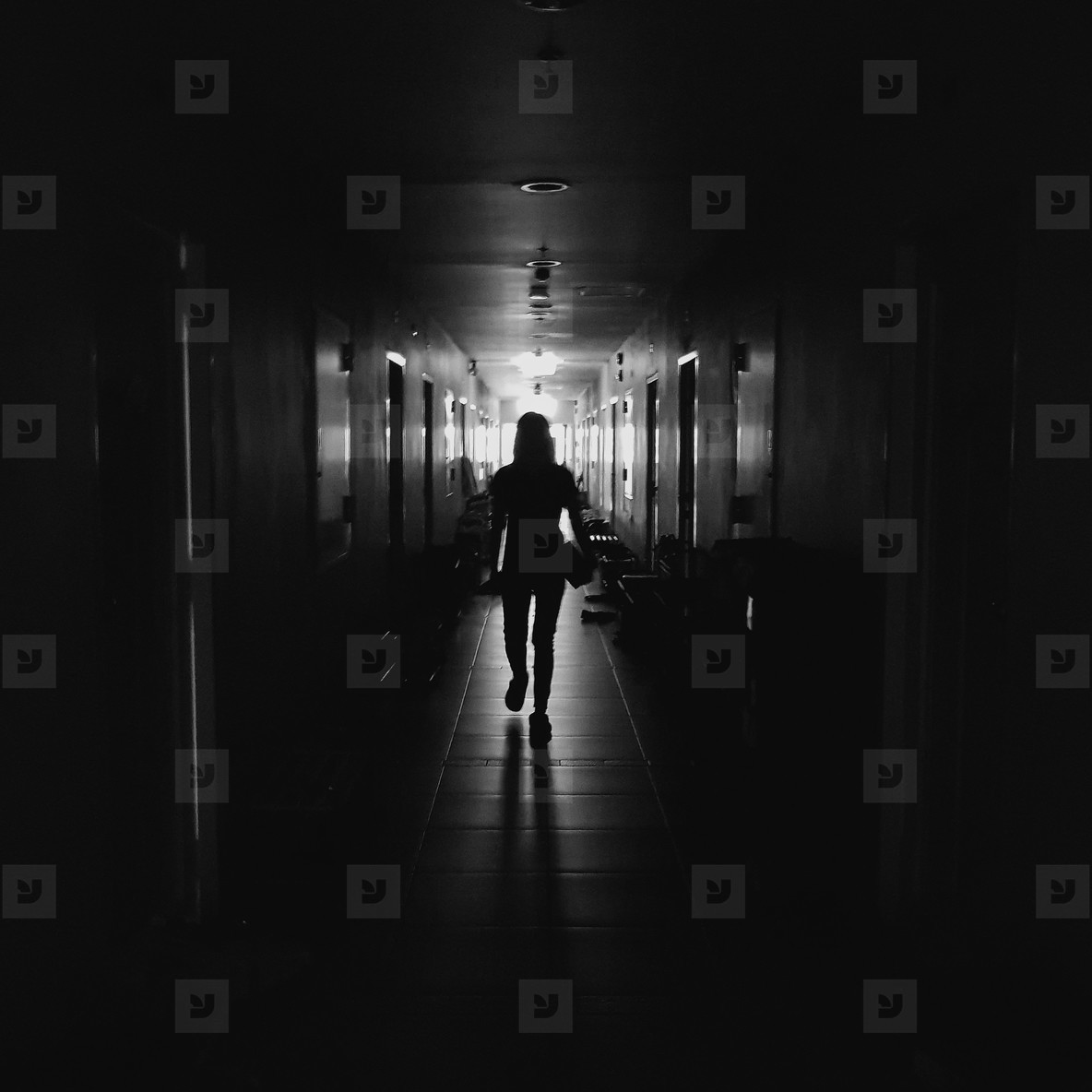 Silhouette of a women walking