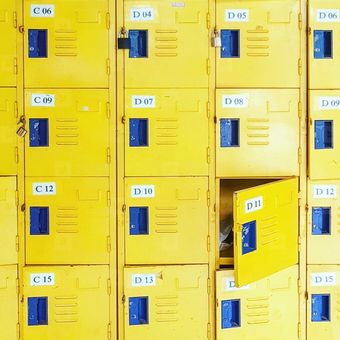 Yellow metal lockers