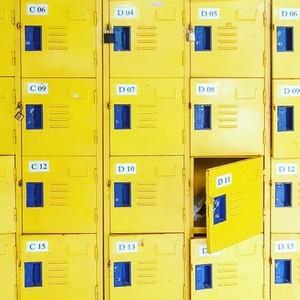 Yellow metal lockers