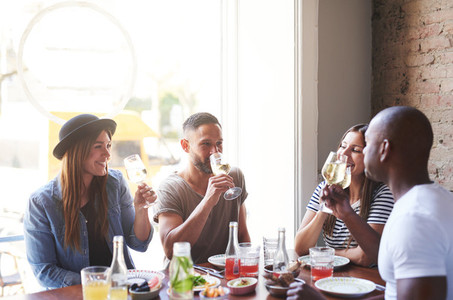 People having fun while dining and drinking