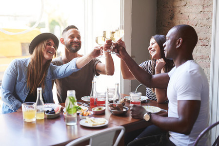Black and white couples toasting drinks at table