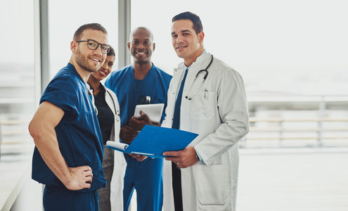 Doctor leading a medical team at hospital