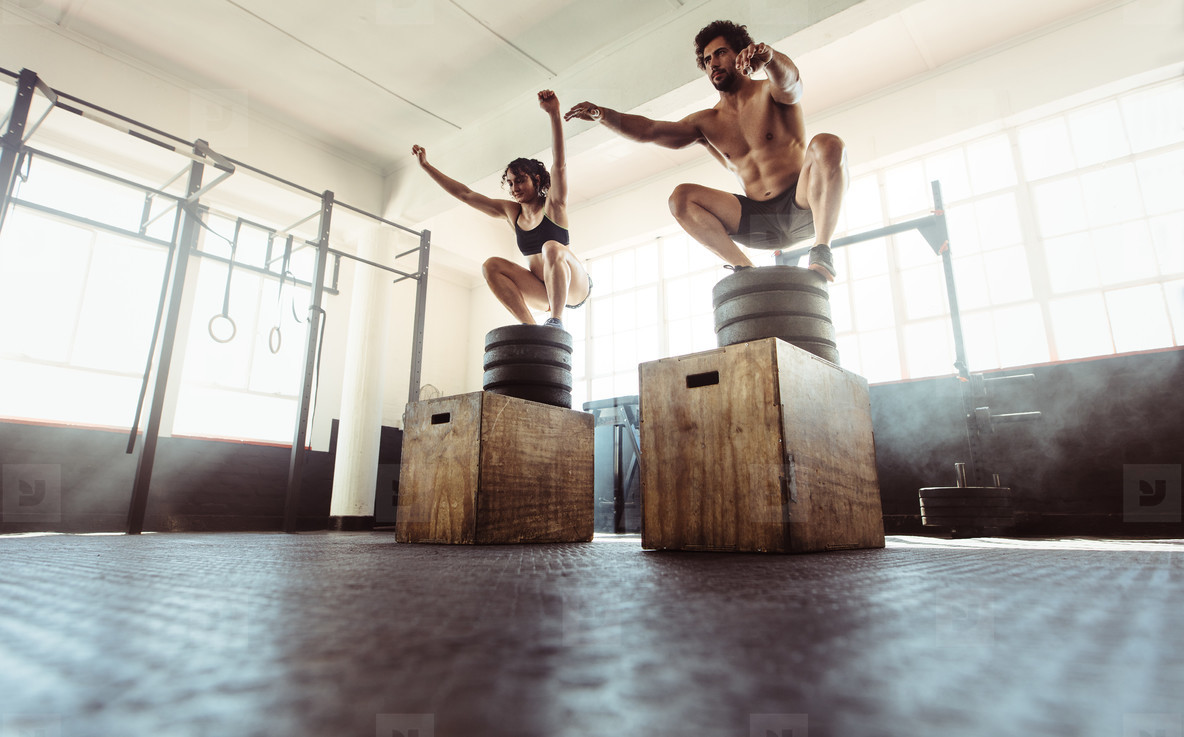 Fitness couple doing a box squat at the gym