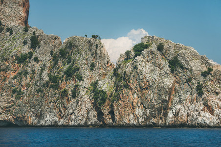 Rocks of Cilvarda cape in Alanya  view from sea