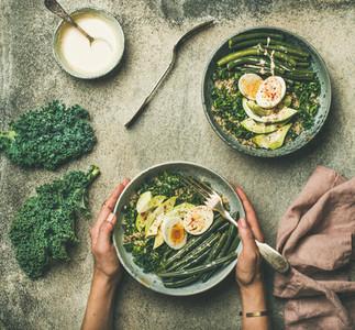 Healthy vegetarian protein rich breakfast bowls flat lay