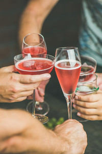 People having party  gathering  celebrating with rose champaign  vertical composition