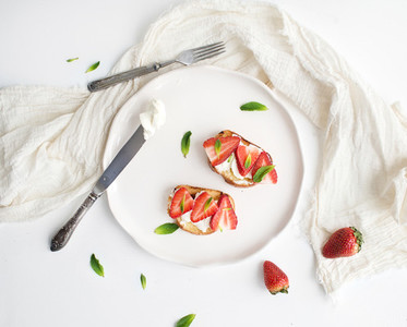 French toasts with strawberry  cream cheese  honey and mint
