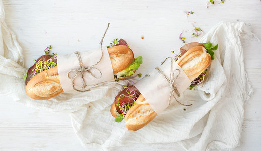 Sandwiches with beef  fresh vegetables and herbs over white wood backdrop