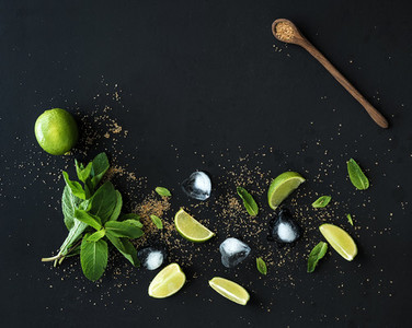 Ingredients for mojito  Fresh mint  limes  ice  sugar