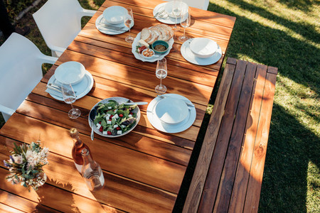 Food on wooden table for housewarming