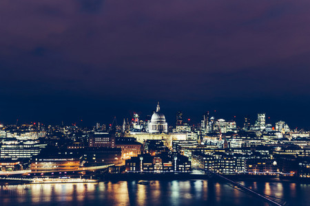 Aerial view of London cityscape skyline at night with St Paul039s