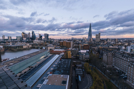 Elevated aerial view of modern London cityscape skyline rooftops