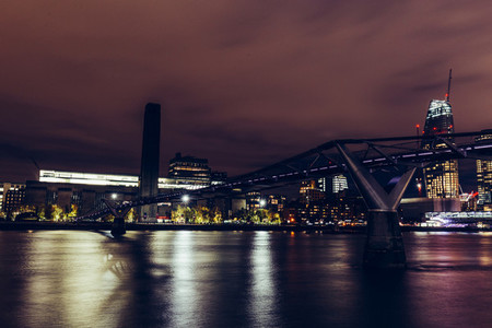 Long exposure shot at night on River Thames with Millennium Brid