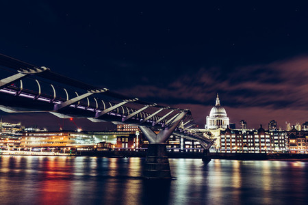 Long exposure of Millennium Bridge and London city skyline on Ri