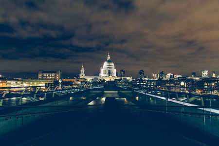 London exposure of London skyline with Millennium Bridge and St