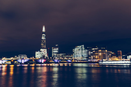 Long exposure shot of modern London cityscape skyline with shard