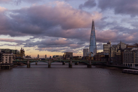 London cityscape skyline on River Thames at sunset