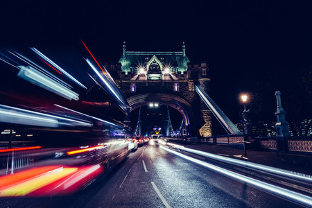 City light trails of London bus traffic on Tower Bridge in Londo