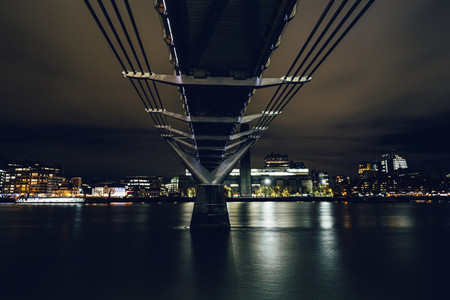 Long exposure shot taken underneath the Millennium Bridge on Riv