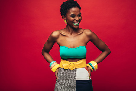 African woman in stylish outfit
