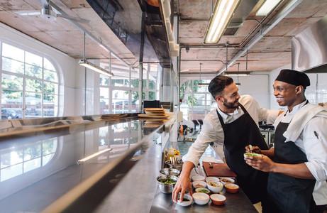 Professional chefs working in restaurant kitchen