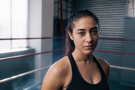 Female boxer at the boxing studio