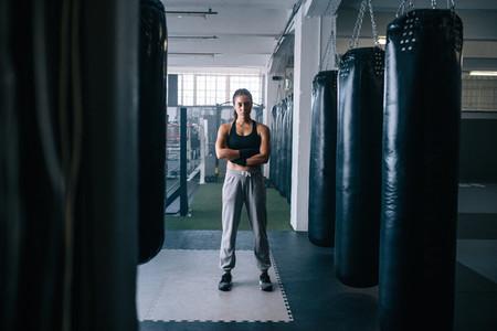 Female boxer at the boxing studio