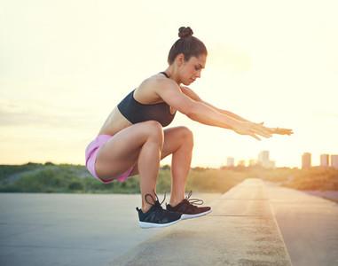 Fit athletic woman practising crossfit
