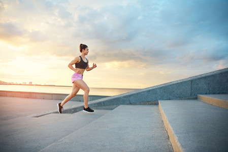 Young woman training on a morning run
