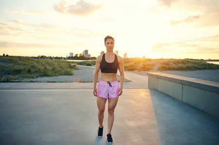 Fit healthy woman with a muscular body