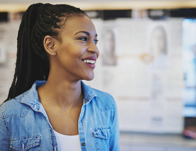Black business woman smiling