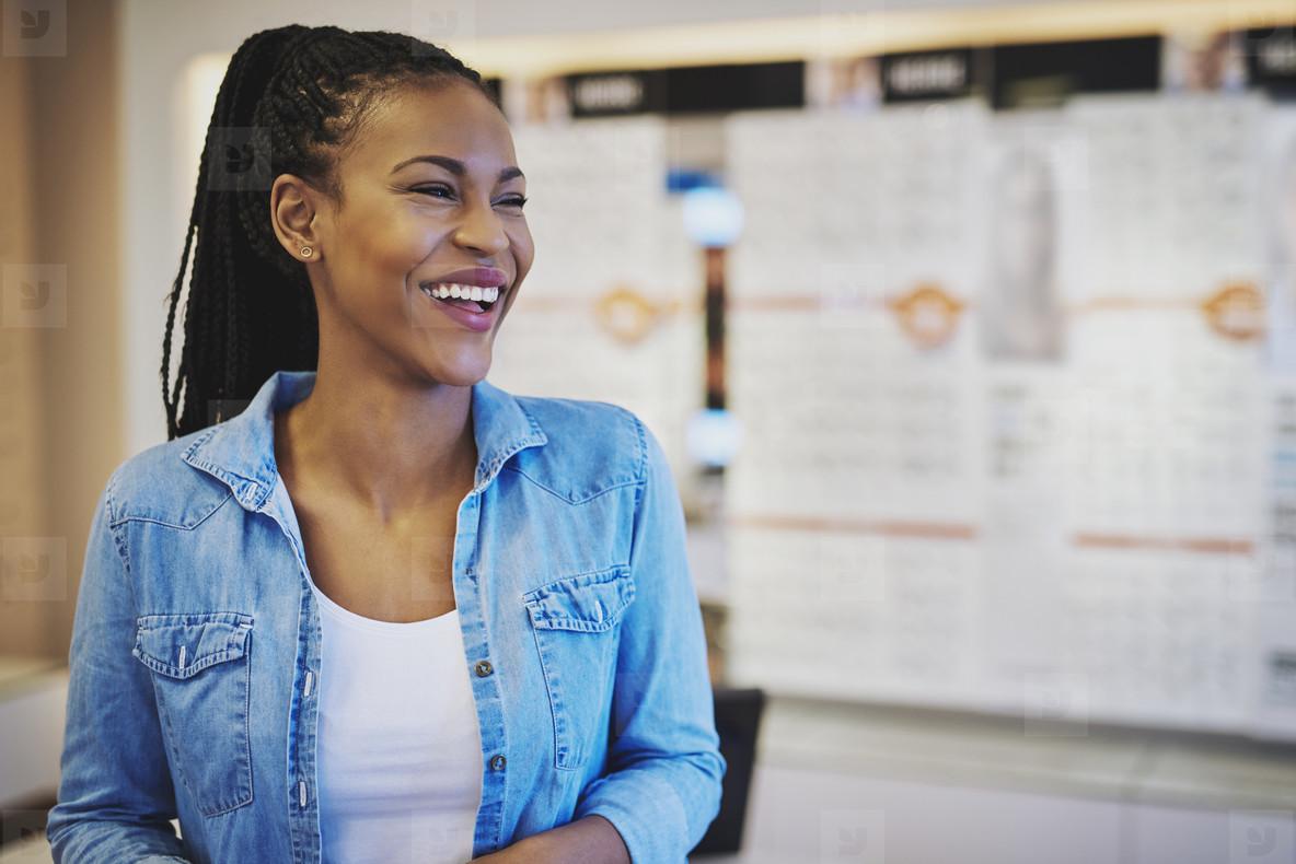 Laughing female entrepreneur