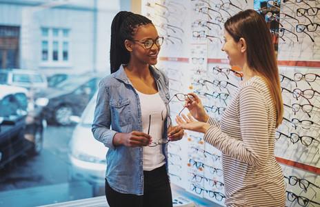 African American woman in an optometrist