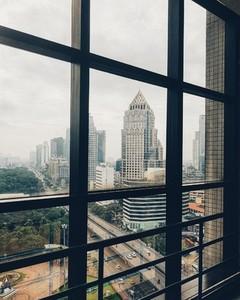 City view through glass windows