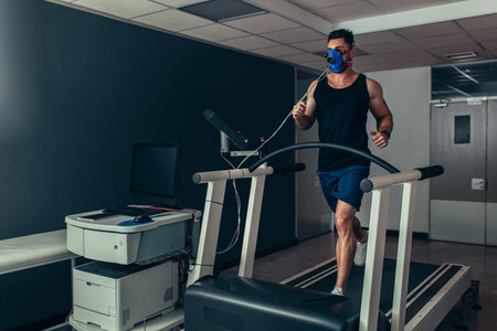 Runner on treadmill at biomechanics lab