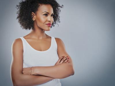 Confident woman looking toward copy space