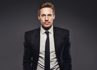 Portrait of handsome business man in dark suit