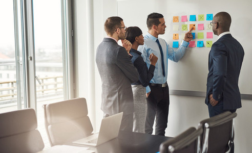Four business people planning with sticky notes