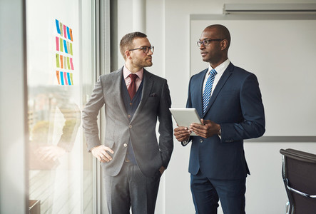 Two smart business managers in a discussion