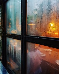 Window with rain drops