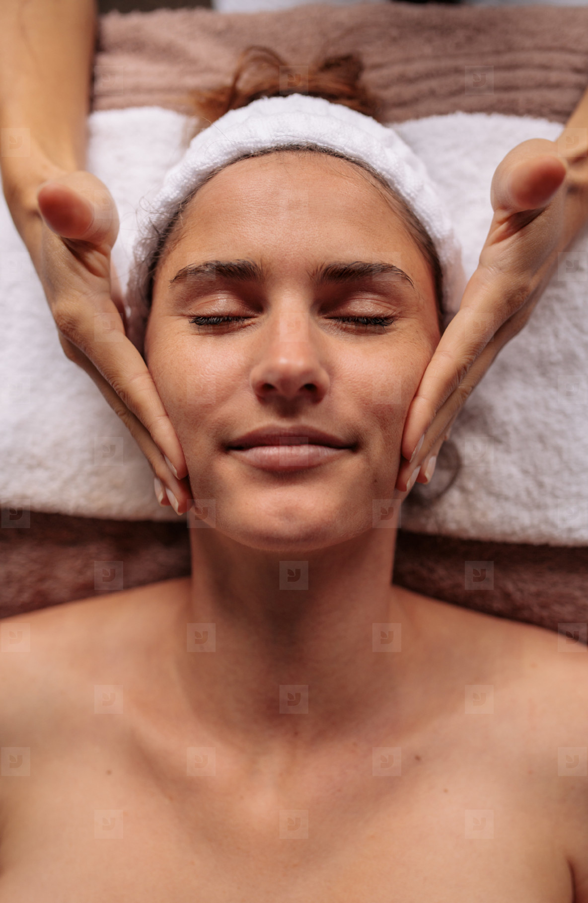 Beautiful  woman getting a face massage